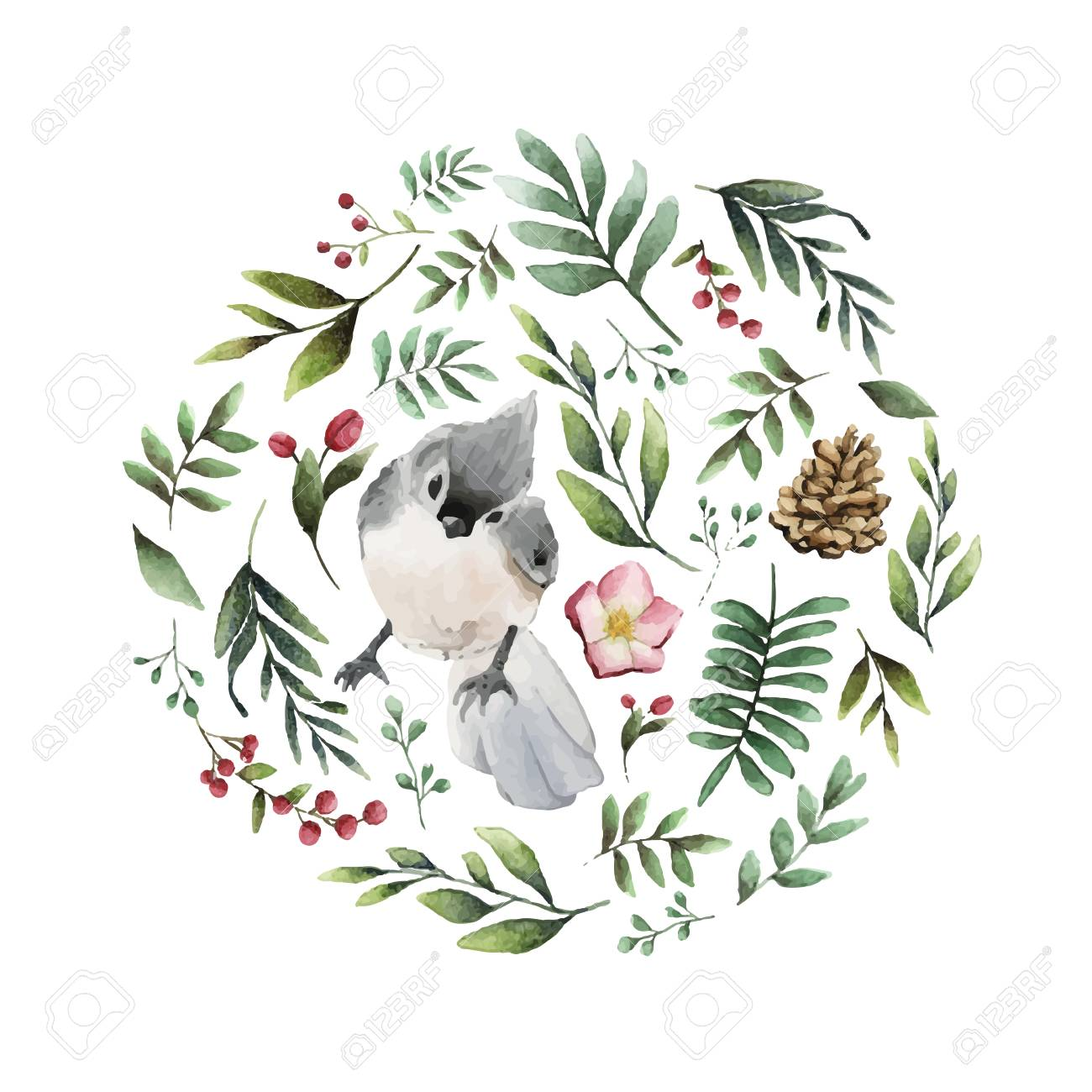 Tufted titmouse bird surrounded by flowers and leaves watercolor painting vector - 126248990