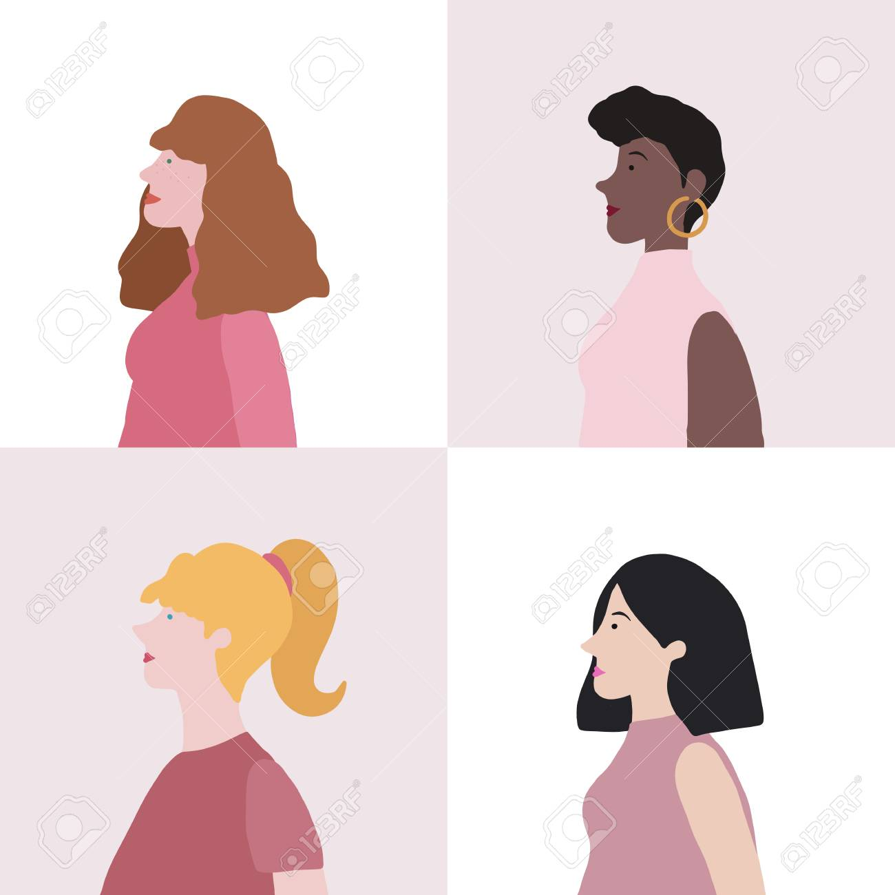 Collection of women in profile vector - 126249041