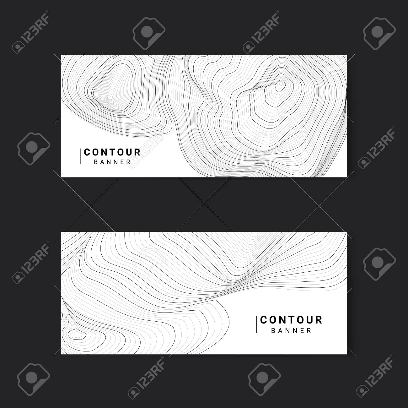 Black and white abstract map contour lines banners set - 115231298