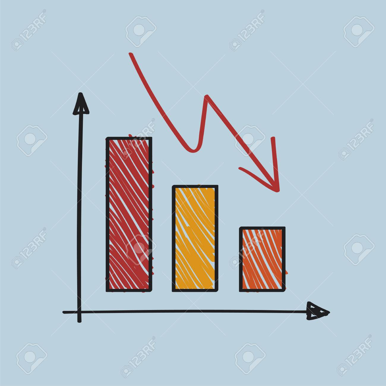 Negatively declining and failing graph illustration - 126213264