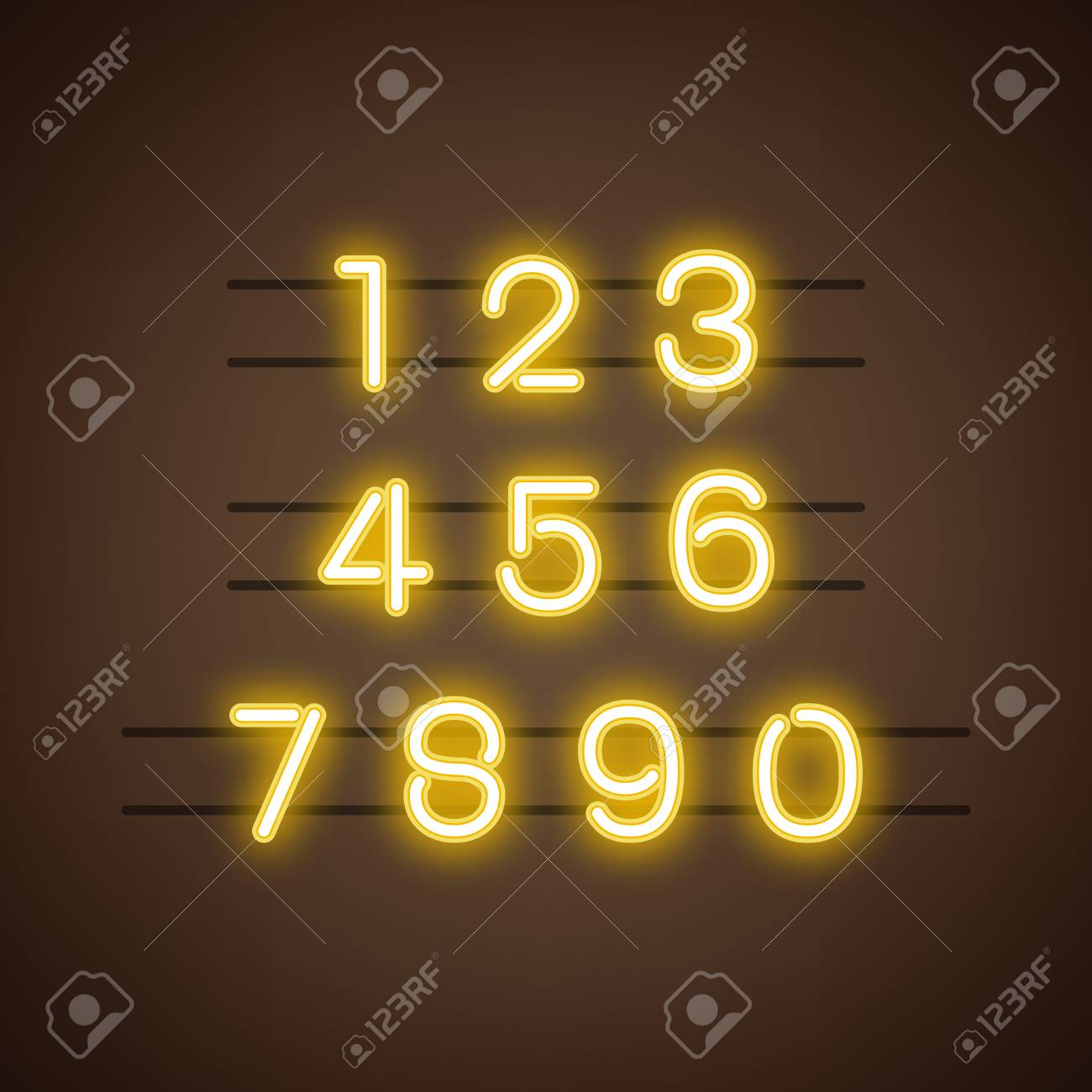 Number 0-9 numeral system vector - 125970825
