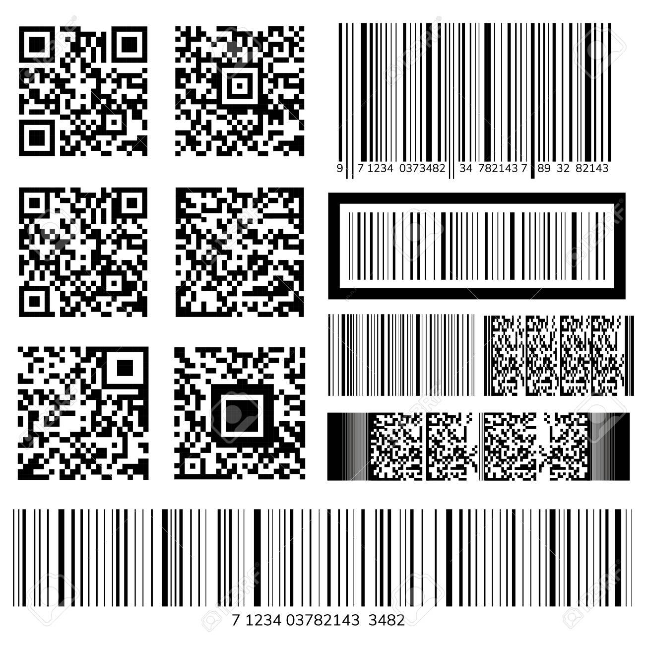 Barcode and QR code vectors - 115663976