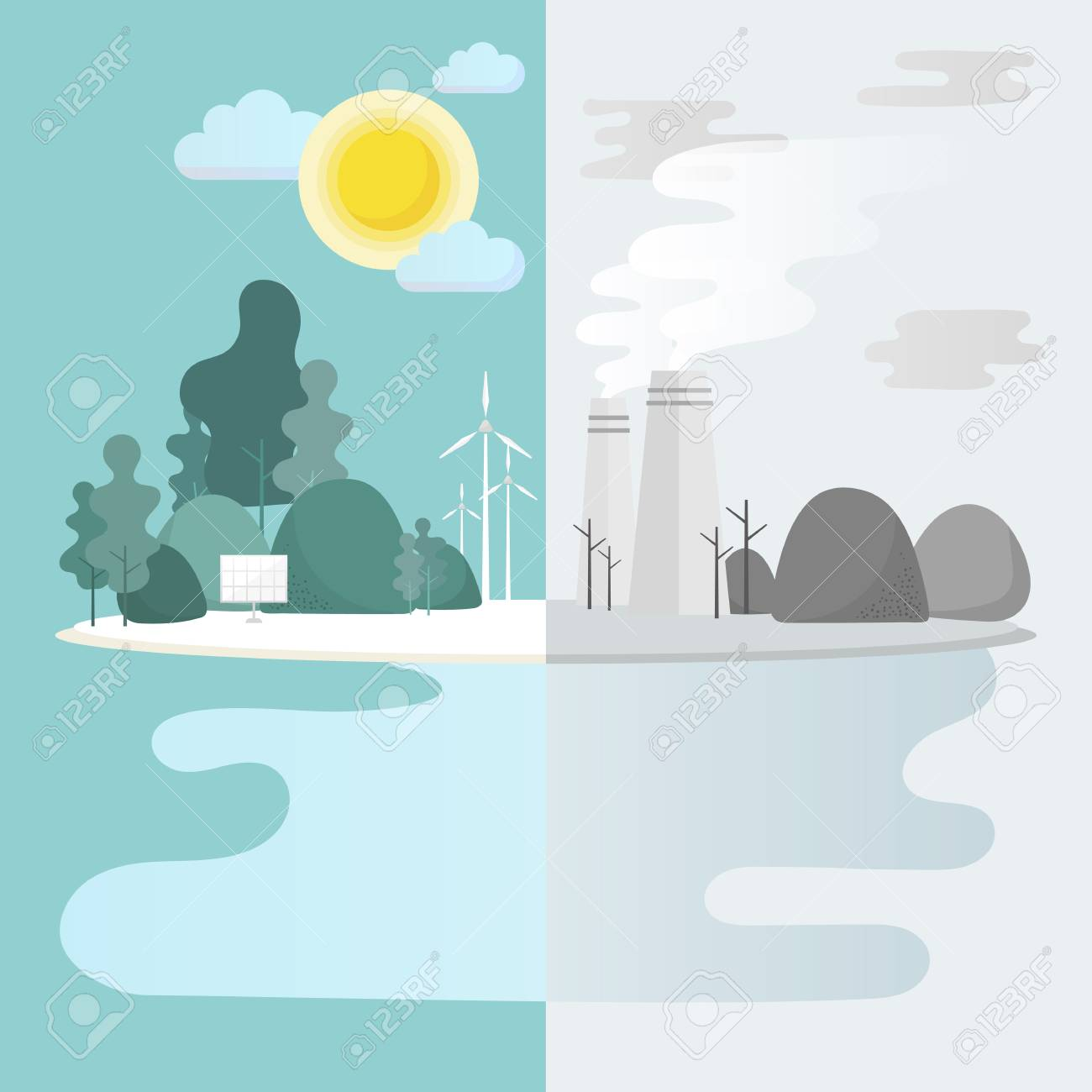 Green city environmental conservation vector - 125970902