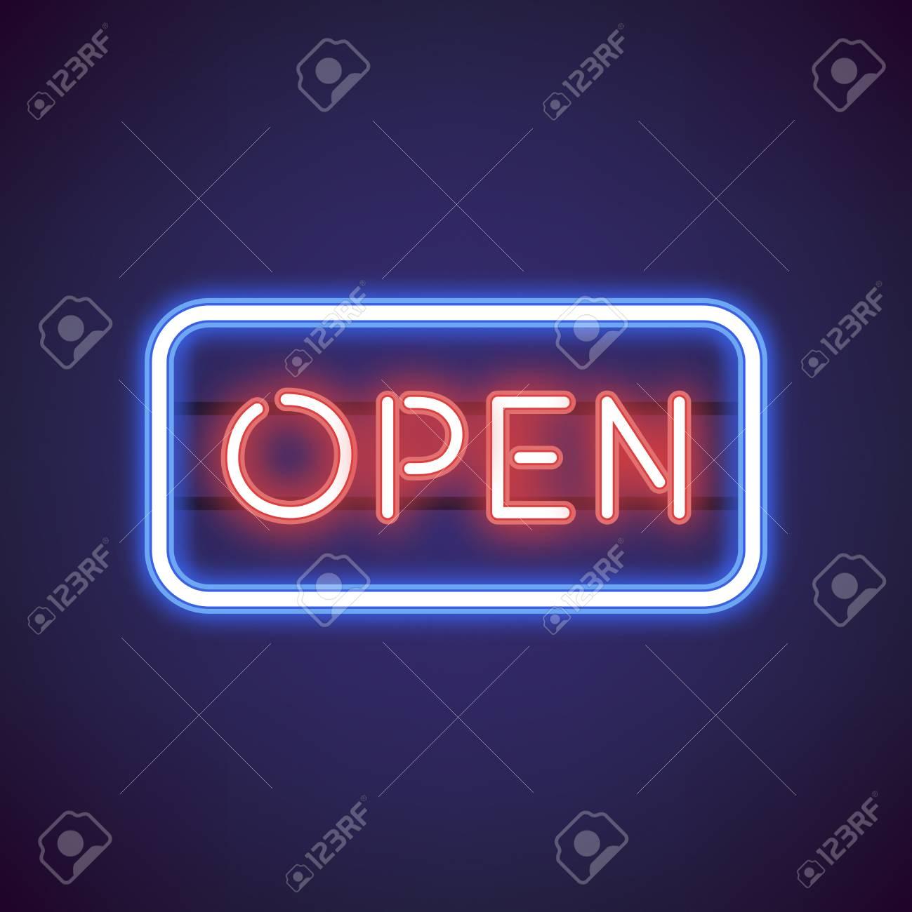 Red open neon sign vector - 125970923