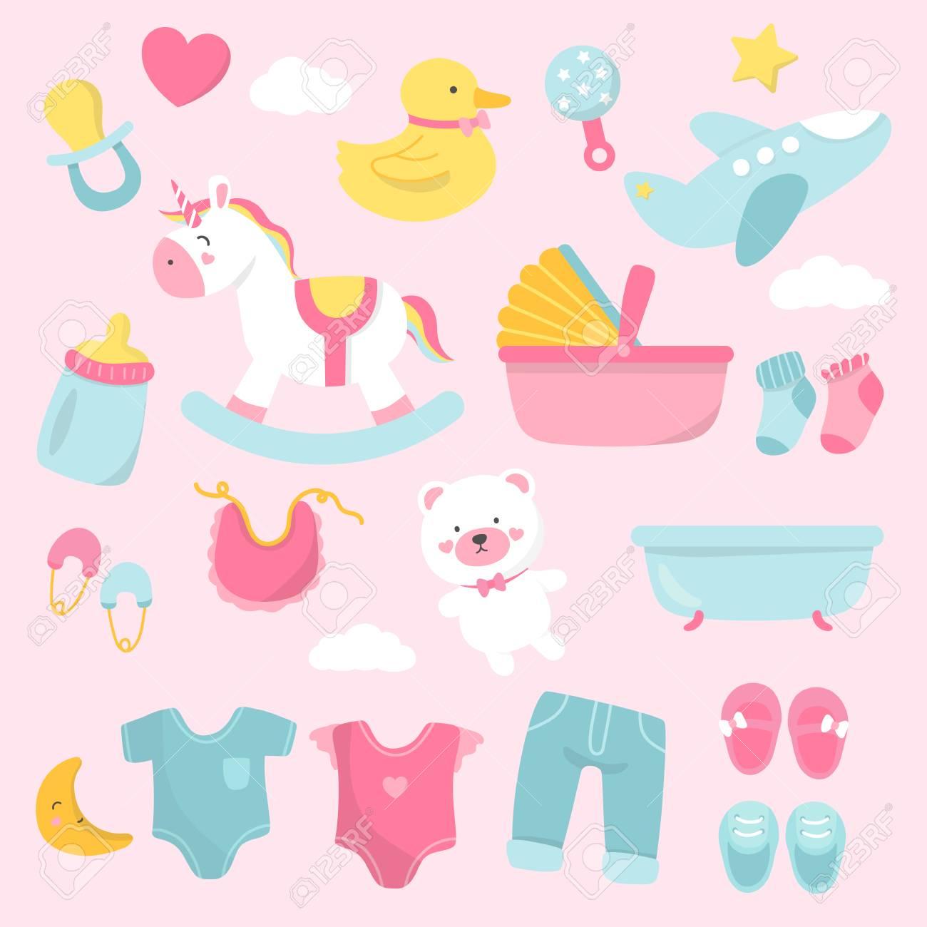 Set of cute baby shower vectors - 125971028