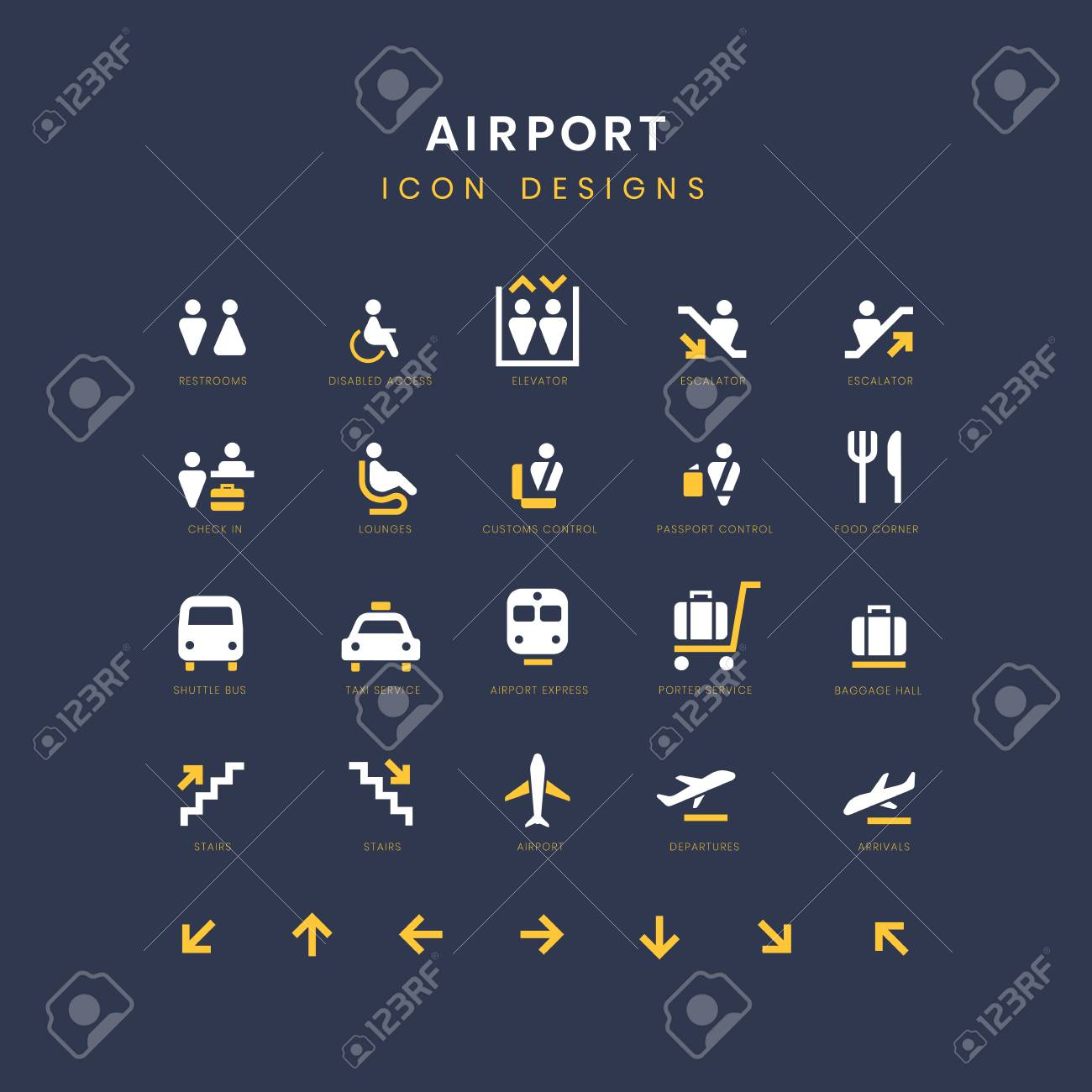 Airport service signs vector set - 125971156