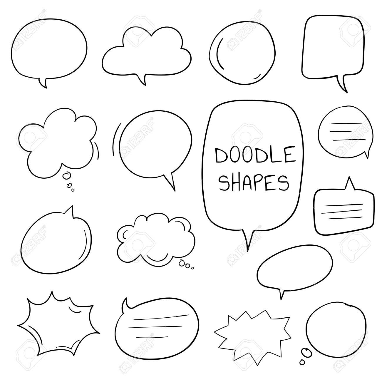 Hand-drawn doodle speech bubbles vector set - 125881673