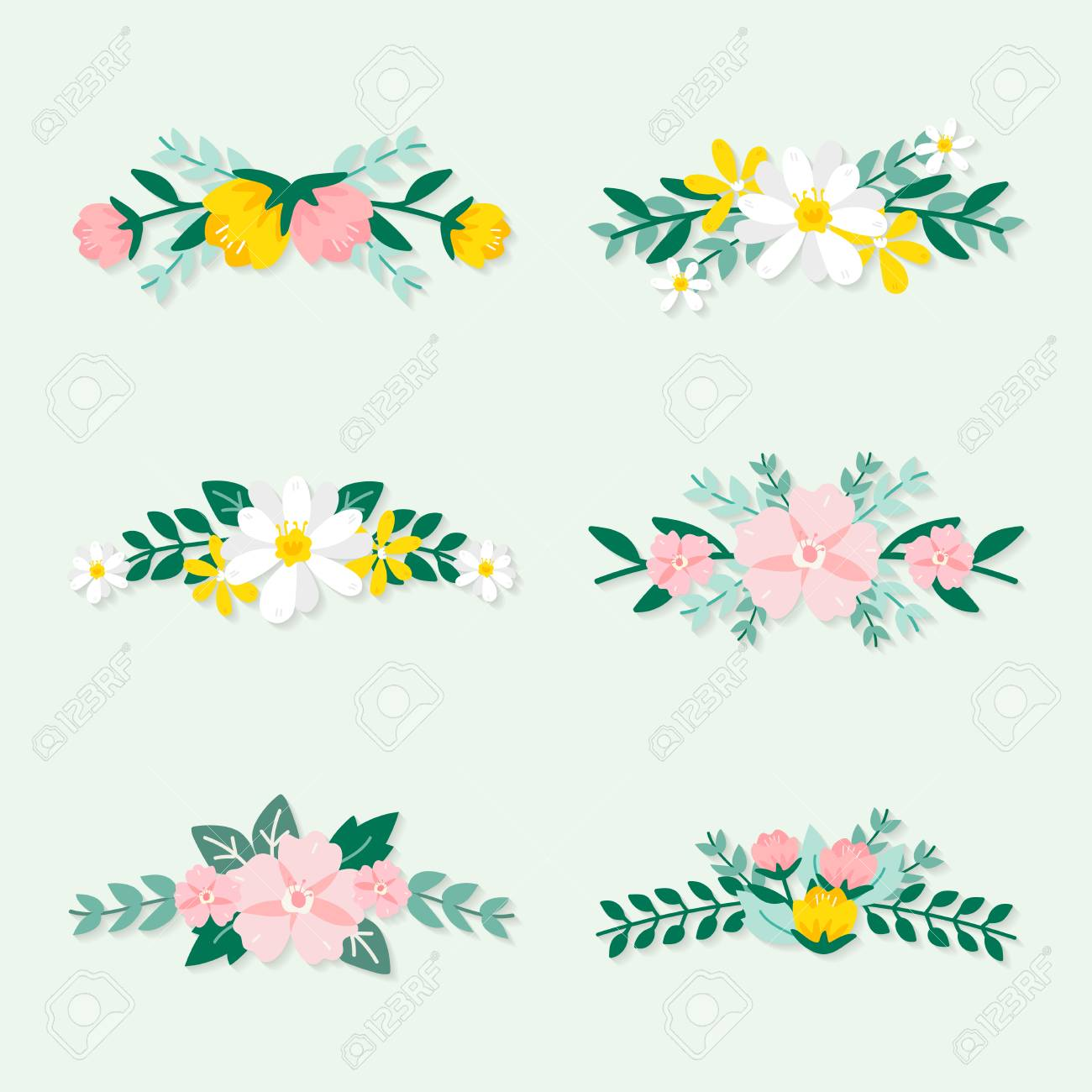 Colorful spring floral ornate vectors - 125376306