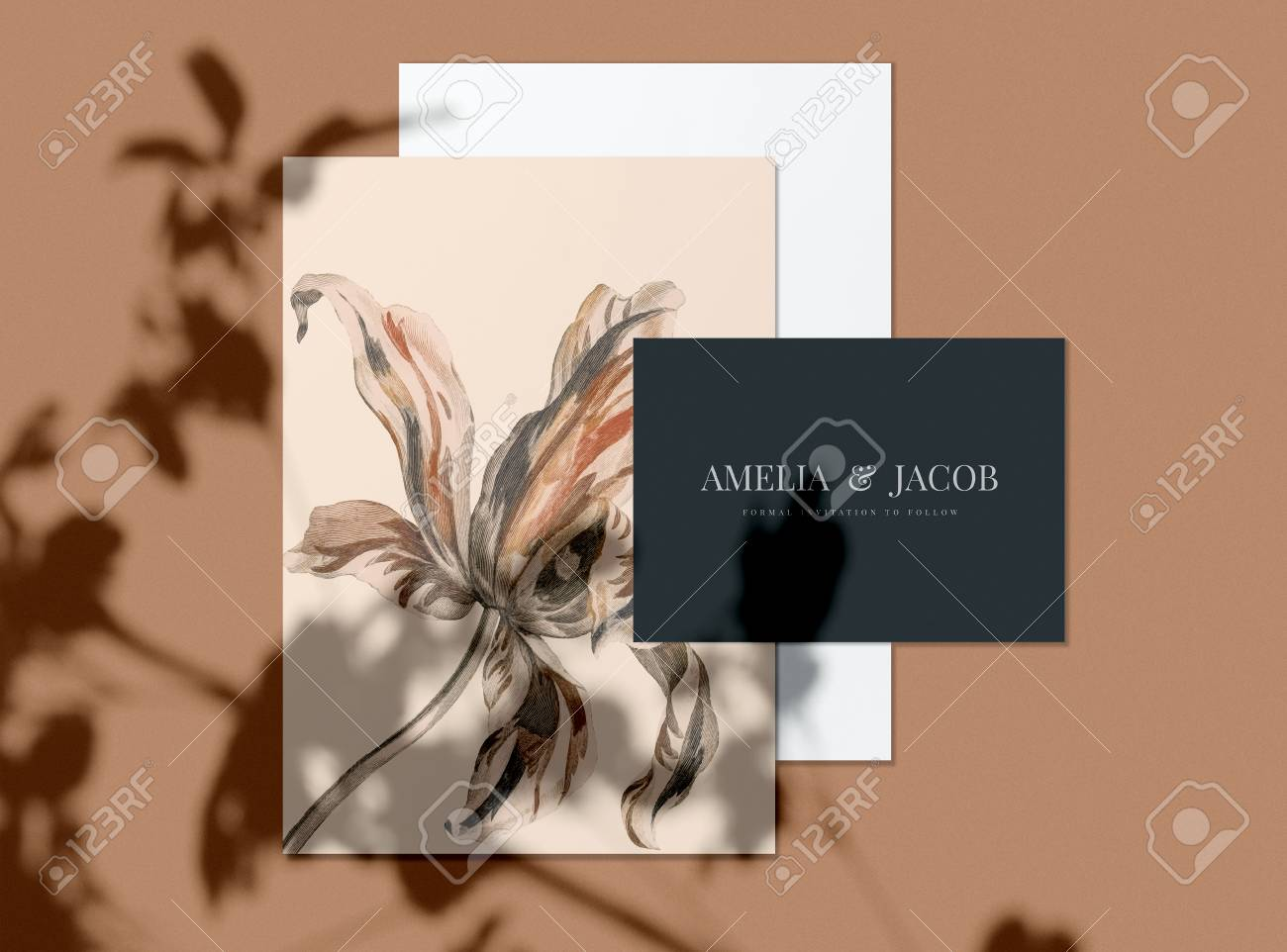 Floral Wedding Invitation Card Mockups