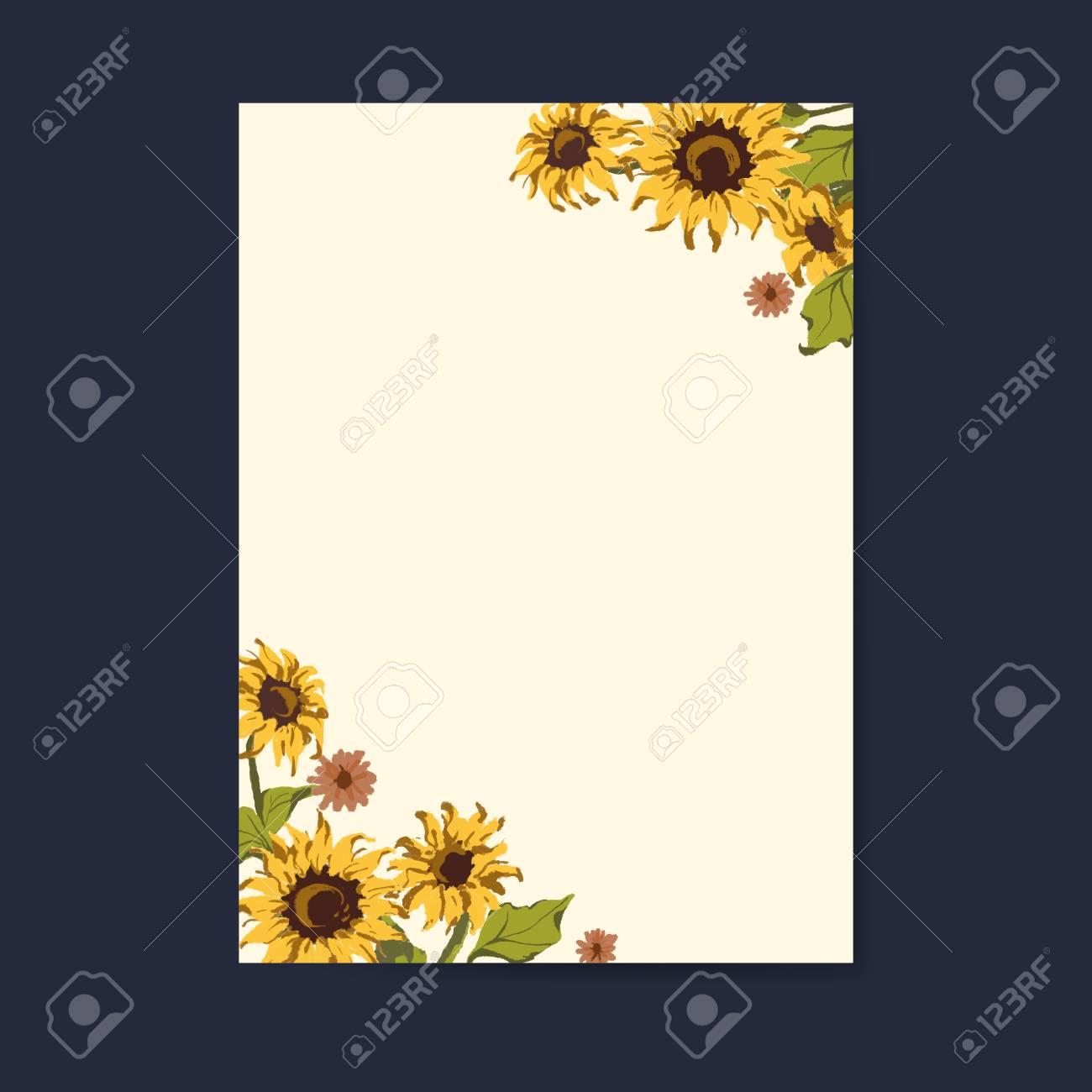 Blank Sunflower Invitation Card Mockup Vector