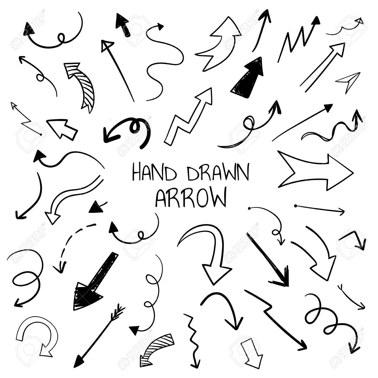 Hand-drawn doodle arrows vector set - 116996465