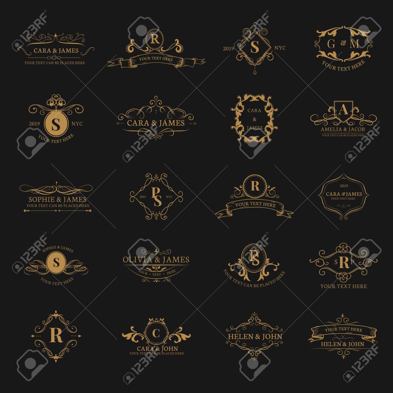 Vintage baroque badge design set - 117605004