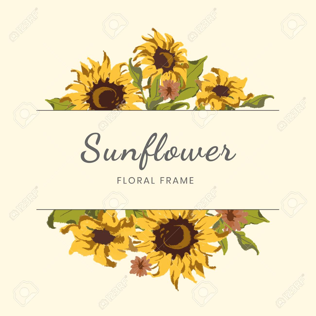 Round Sunflower Wreath Frame Vector Royalty Free Cliparts Vectors And Stock Illustration Image 117605096