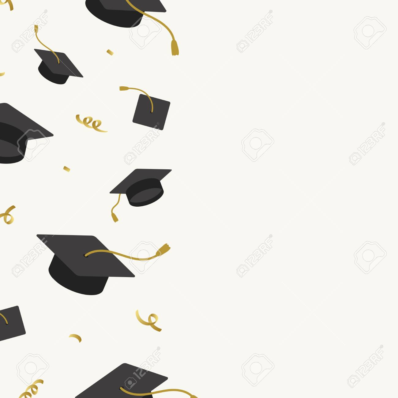 Graduation background with mortar boards vector - 124774264