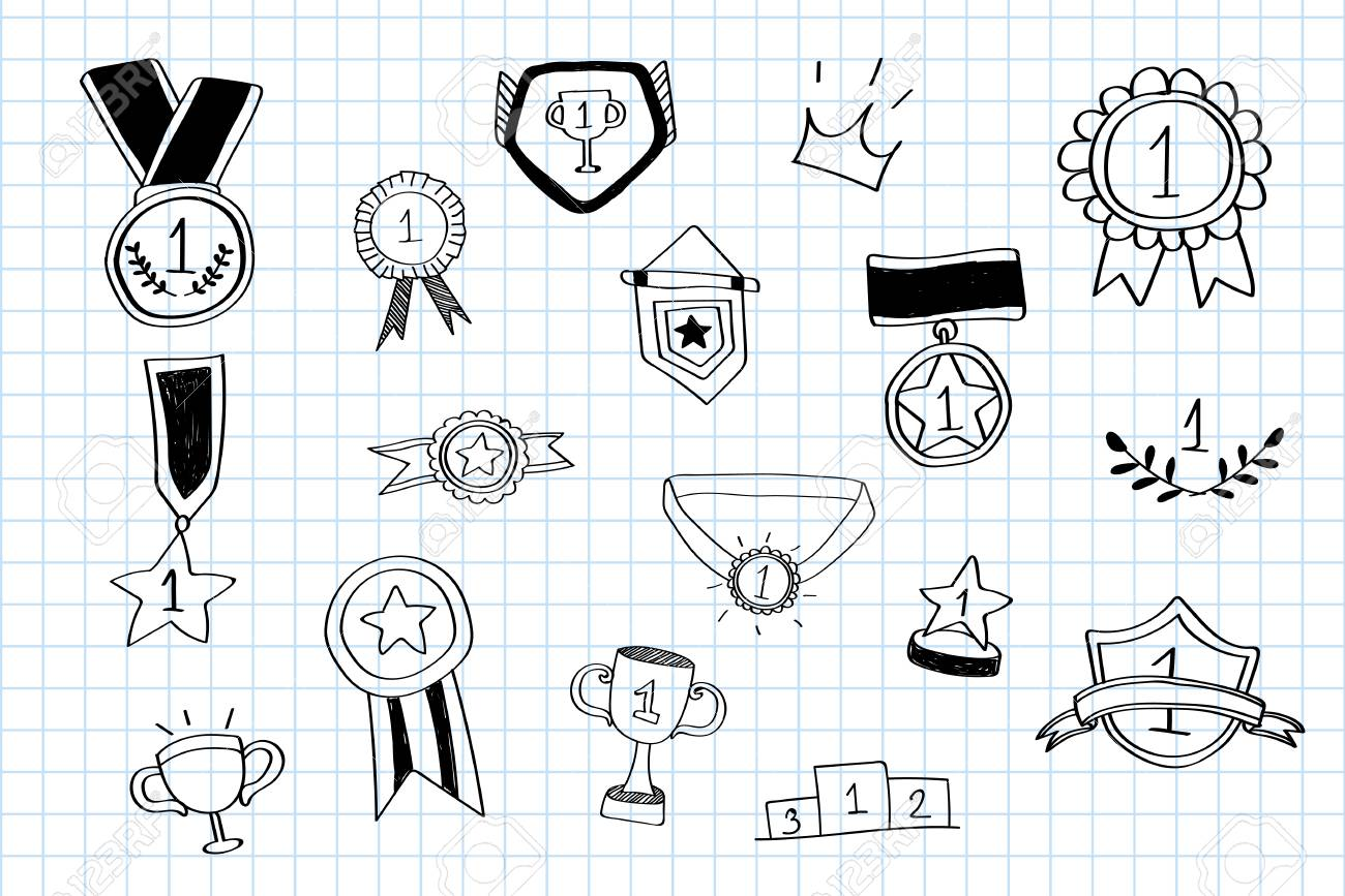 First place winner doodles collection vector - 124774323