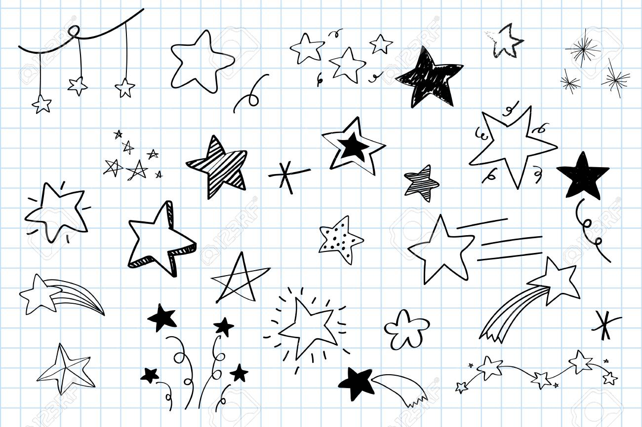Various stars doodle collection vector - 124609852