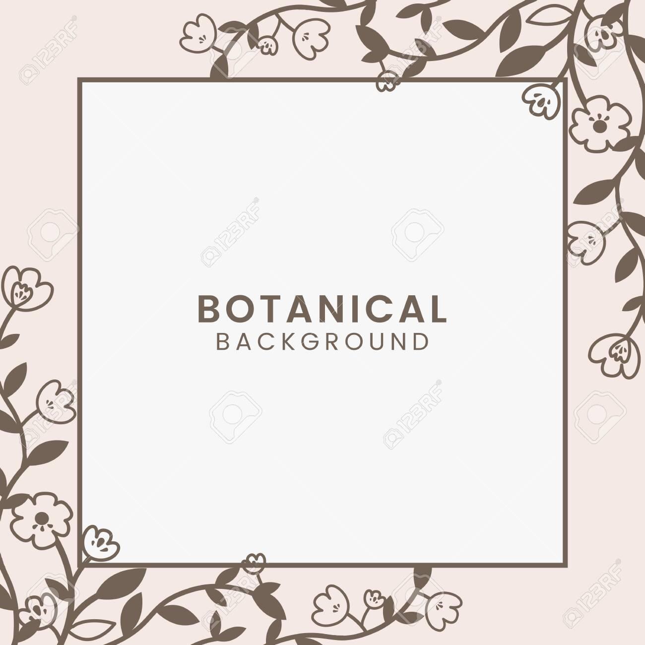 Brown botanical square framed vector - 124355533