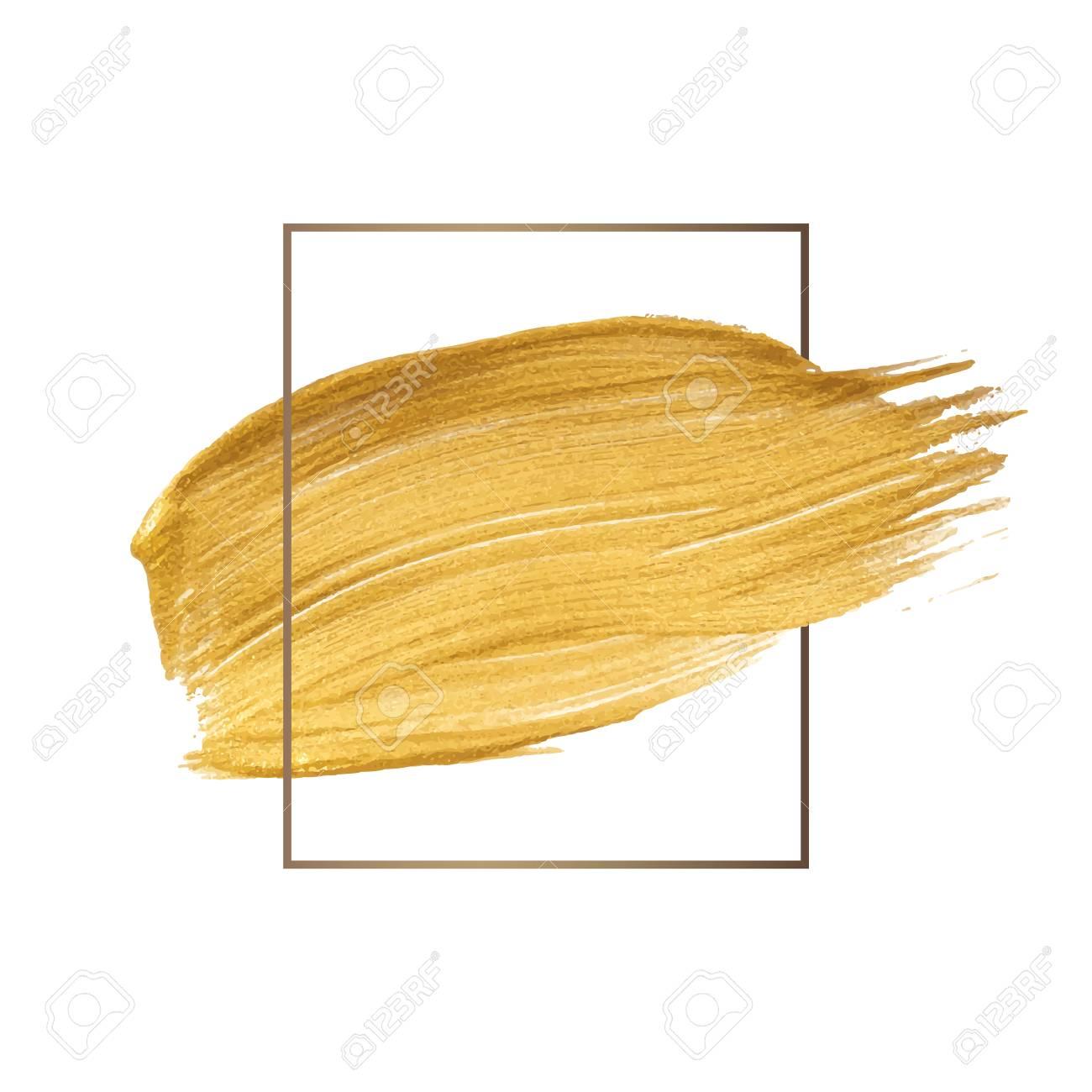 Golden shimmery brush stroke badge vector - 119597645