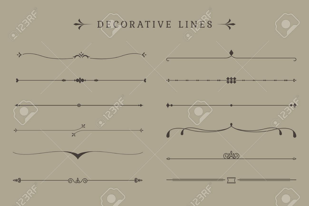 Vintage decorative line collection vectors - 119601354