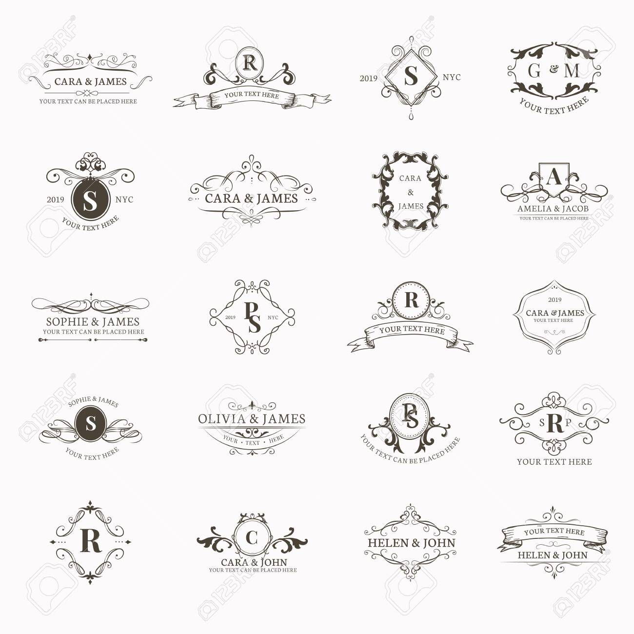 Vintage baroque badge design set - 119998061