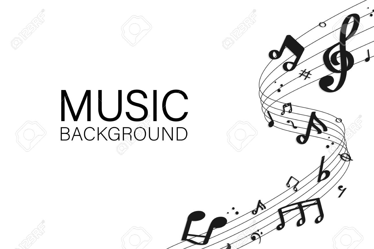 Black flowing music notes on white background vector - 123969222