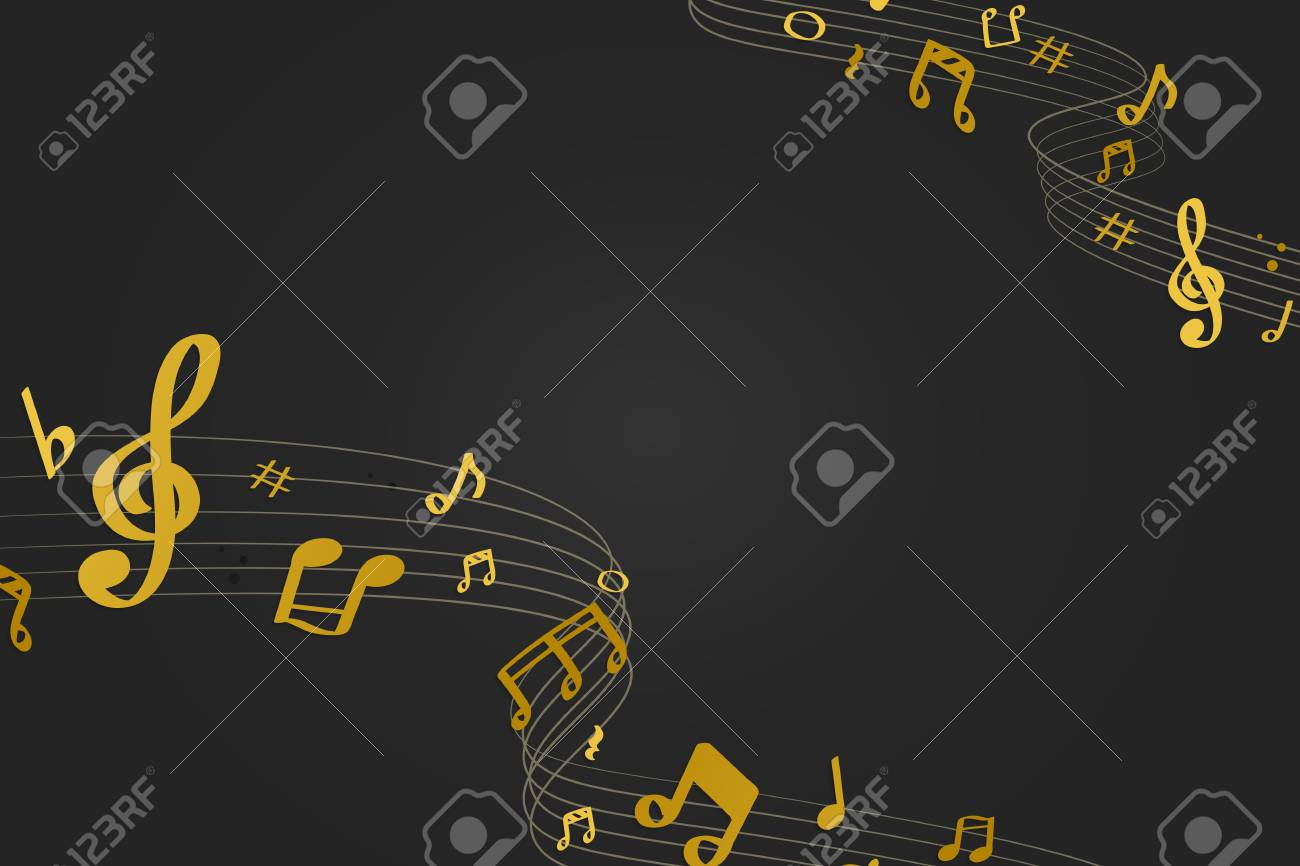 Yellow flowing music notes on black background vector - 123969288
