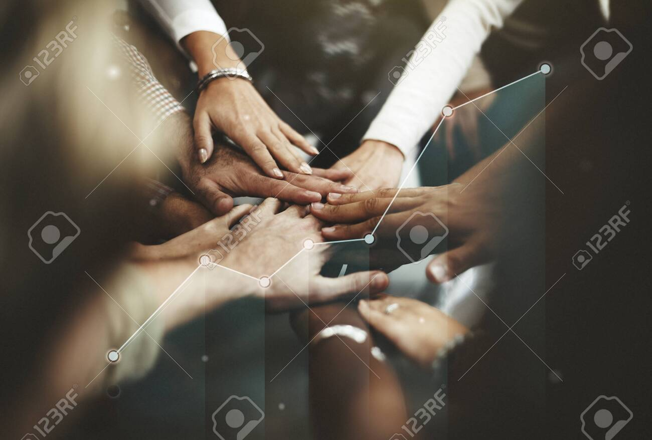 People joining hands in the middle - 120343185