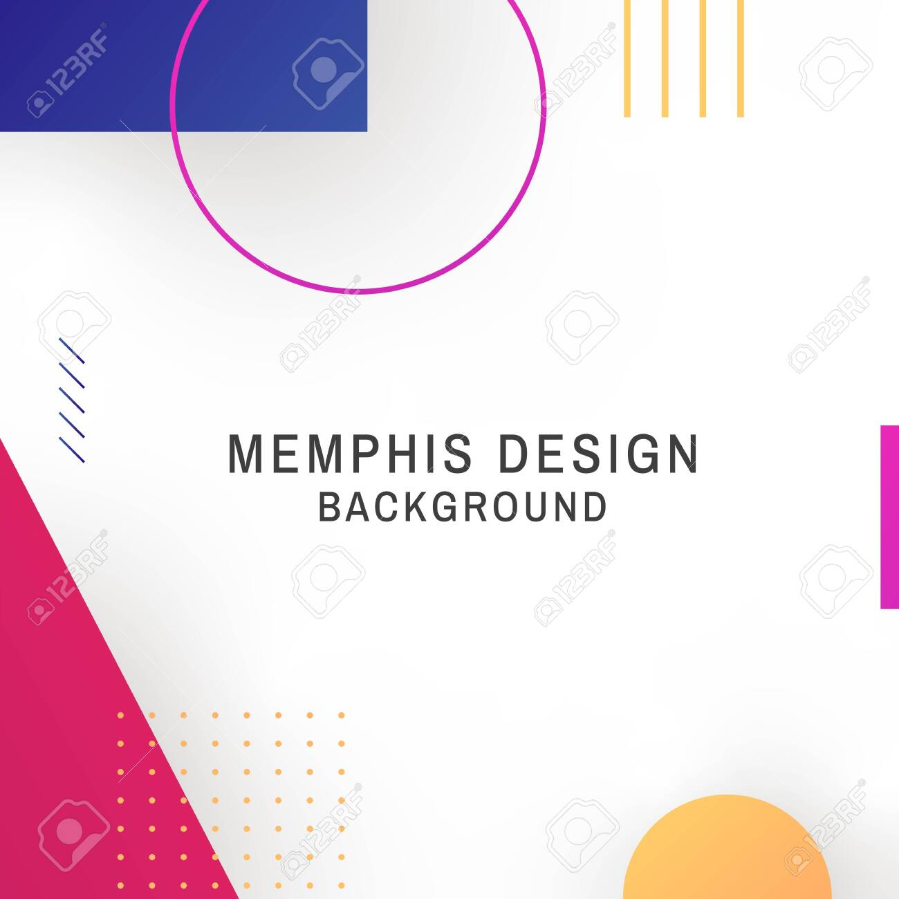 Colorful geometric white memphis background vector - 120963665