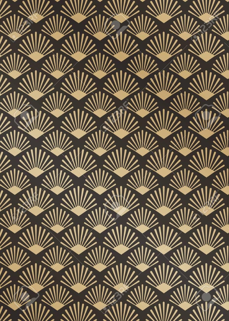 Modern golden gatsby pattern design vector - 120963804