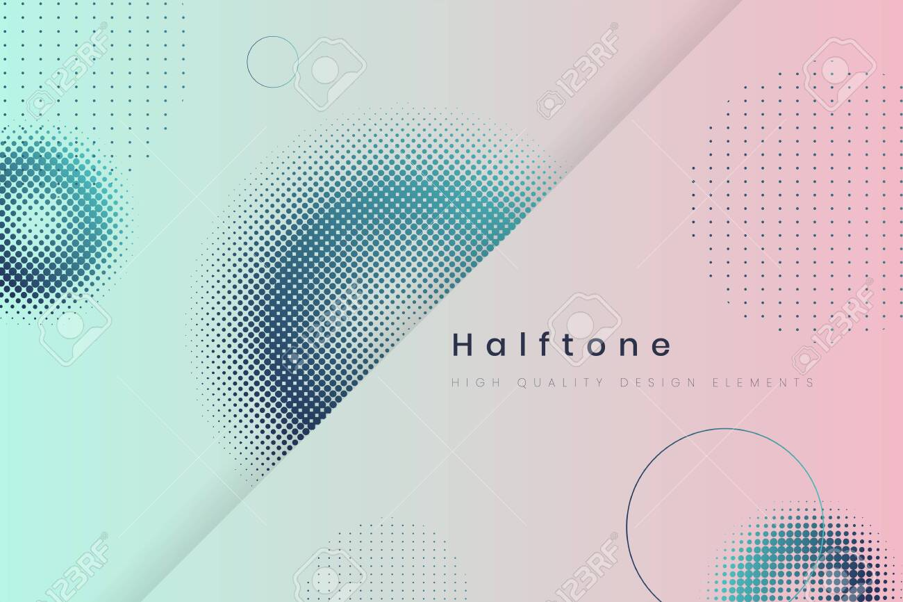 Geometric halftone blue and pink background vector - 123281711