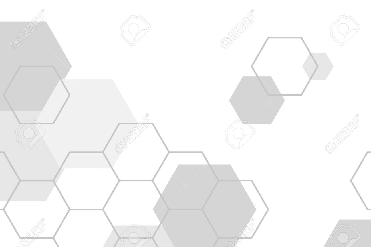 Gray hexagon geometric pattern background vector - 121111619
