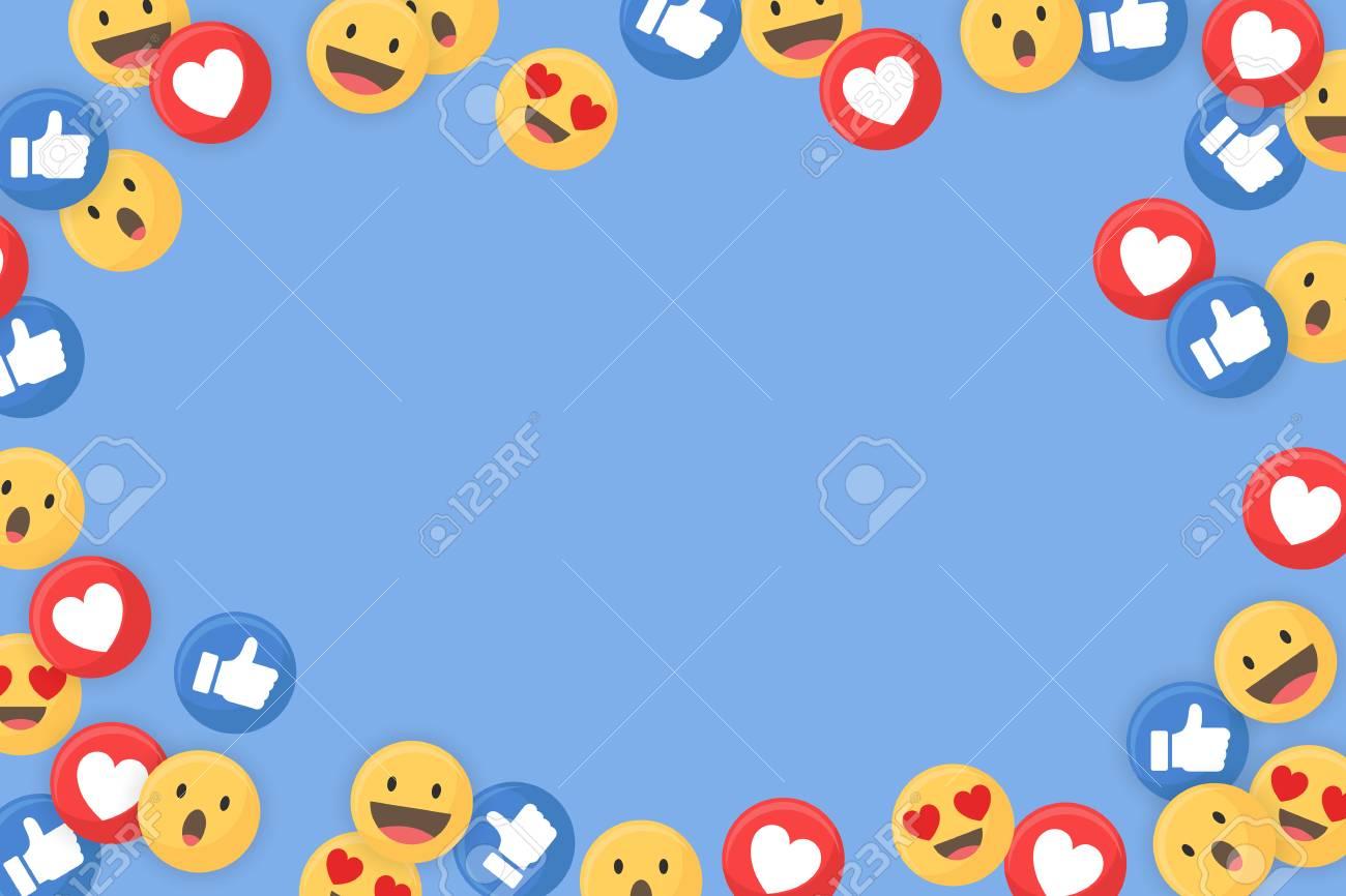 Social media themed border on a blue background vector - 122626748