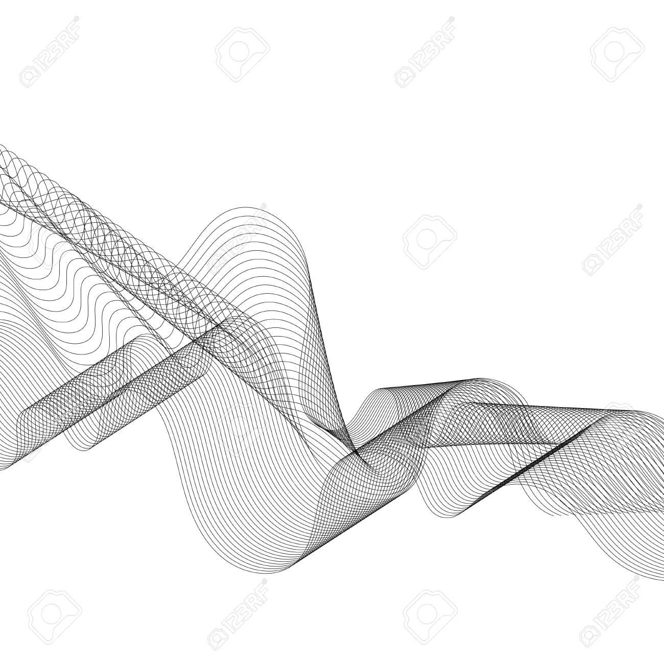 Black moiré wave on white background - 122626829