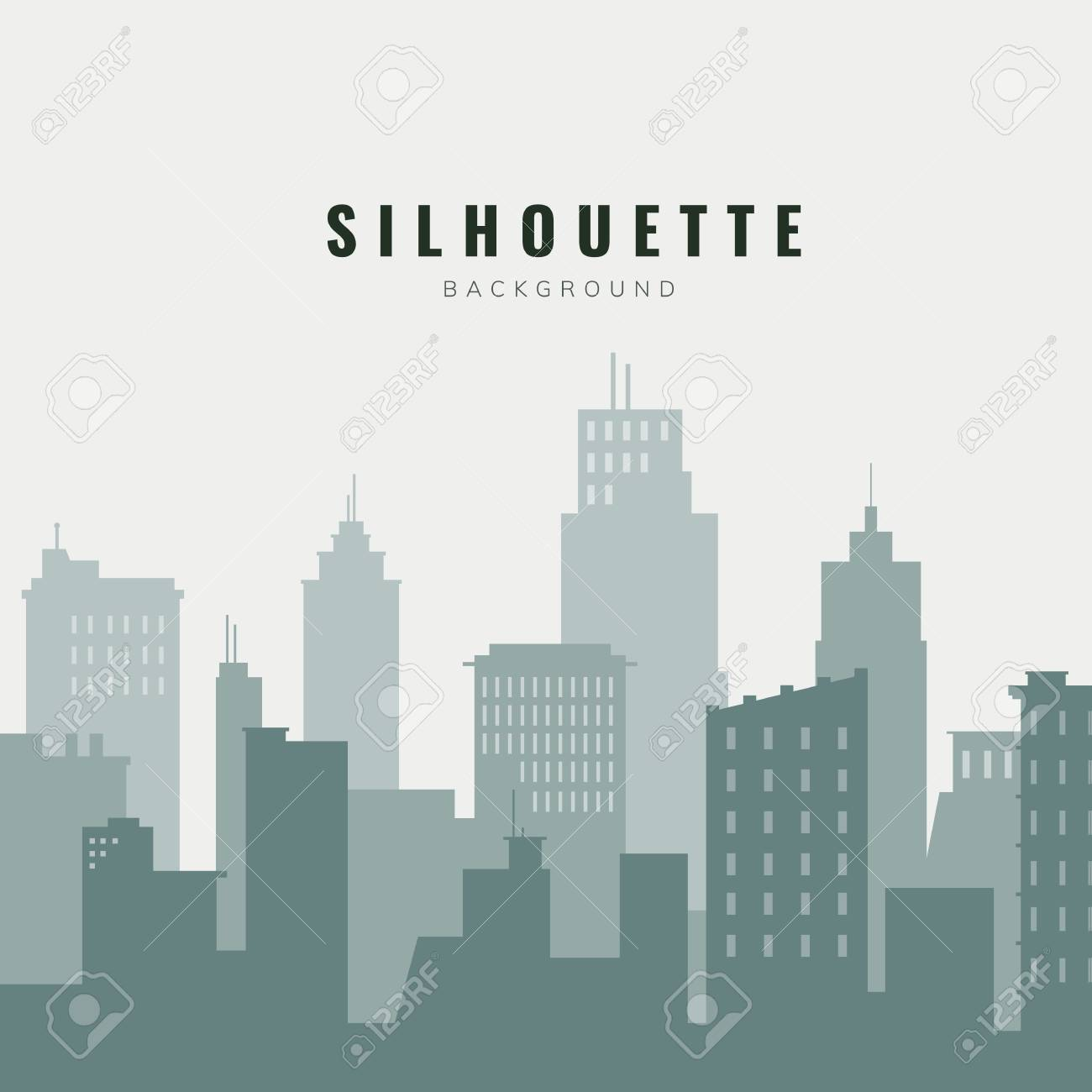 Green and beige silhouette cityscape background vector - 122626841