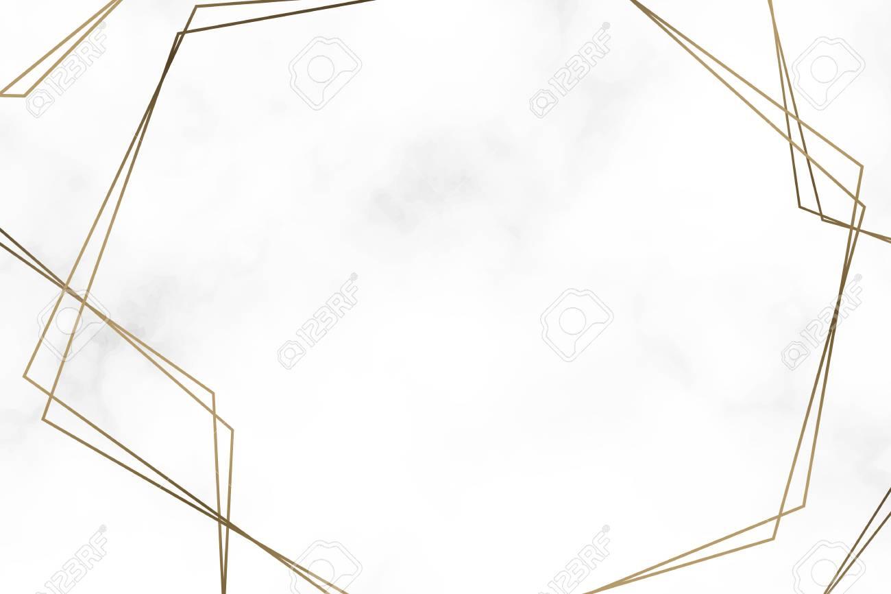 Golden hexagon frame template vector illustration - 121951437