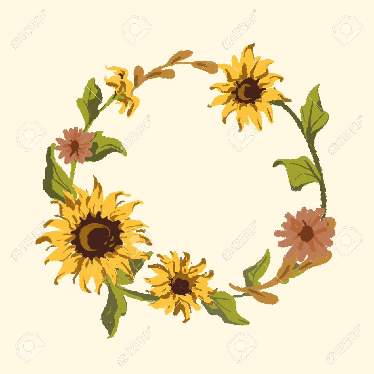 Round Sunflower Wreath Frame Vector Royalty Free Cliparts Vectors And Stock Illustration Image 122628550