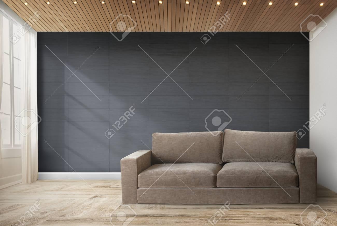Brown Couch Against A Black Wall Mockup