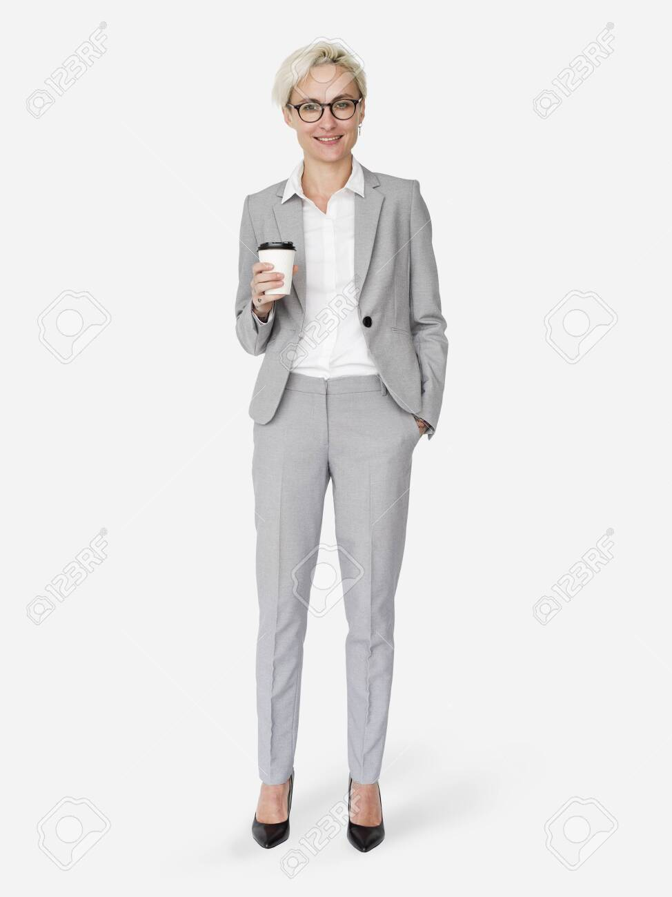 Cheerful businesswoman holding a coffee cup mockup character isolated on a white background - 122425354