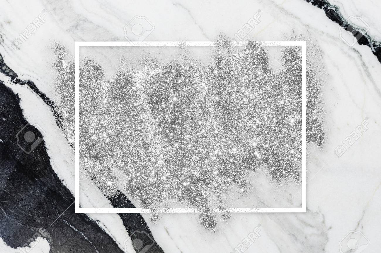 Silver Glitter With A White Frame On A White Marble Background Stock Photo Picture And Royalty Free Image Image 123589424