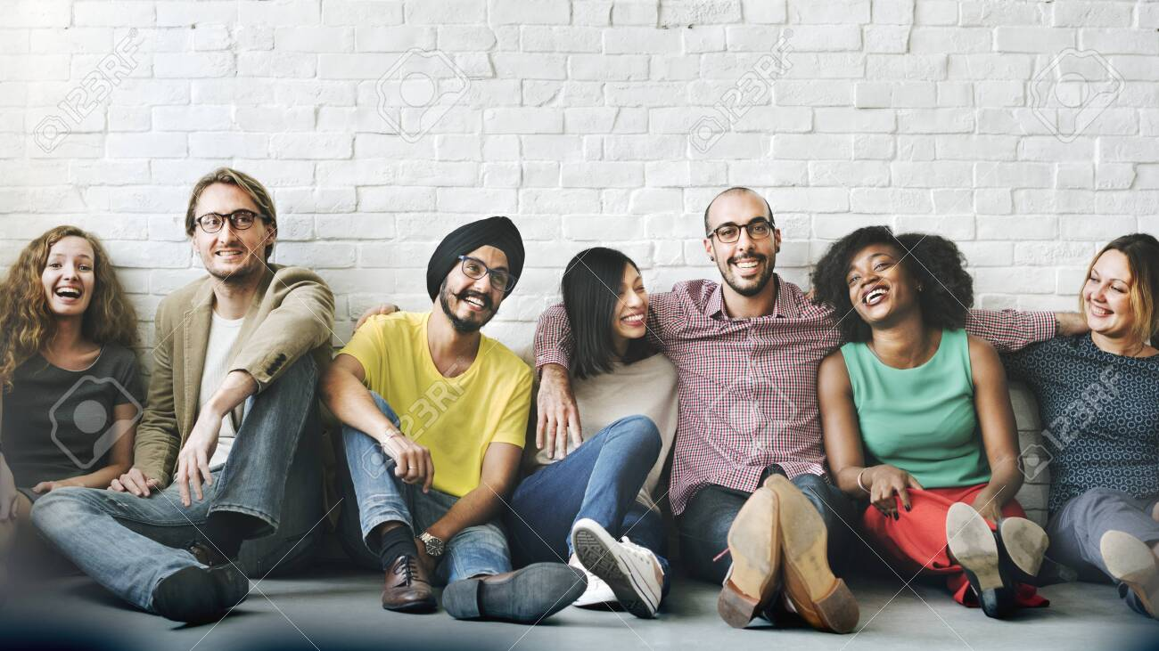 Group of cheerful diverse people - 123592038