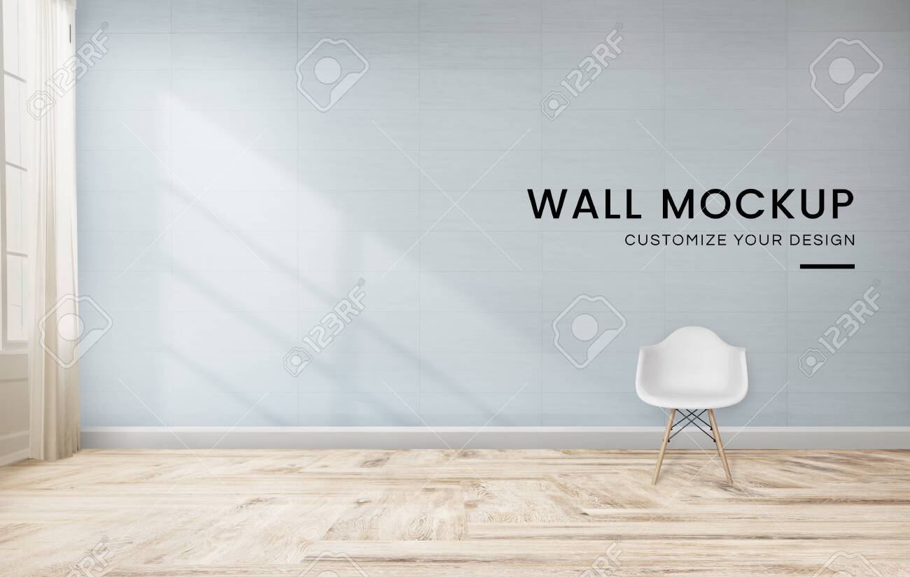 White chair against a blue wall mockup - 123602502