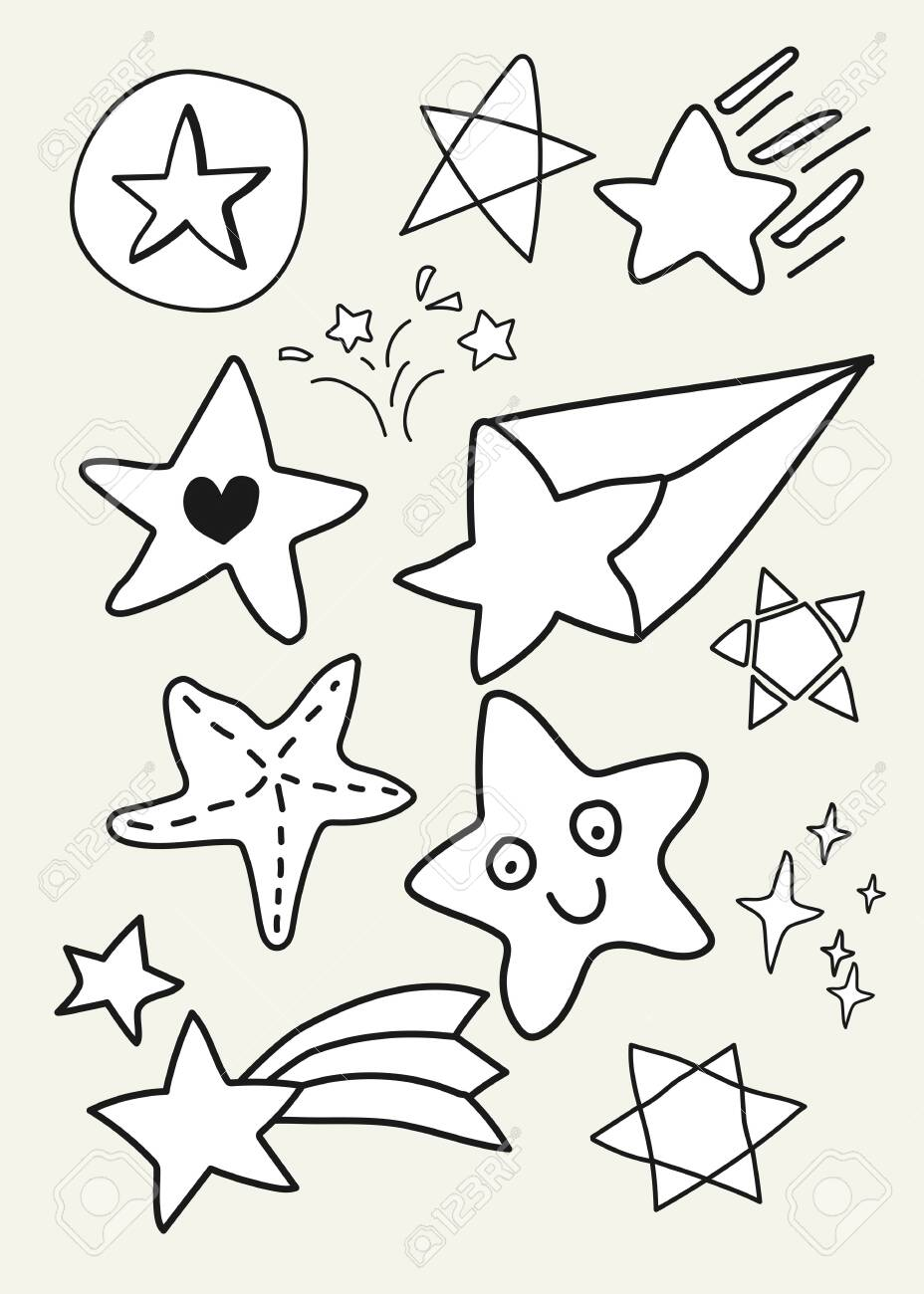 Hand drawn white star vectors collection - 123722336