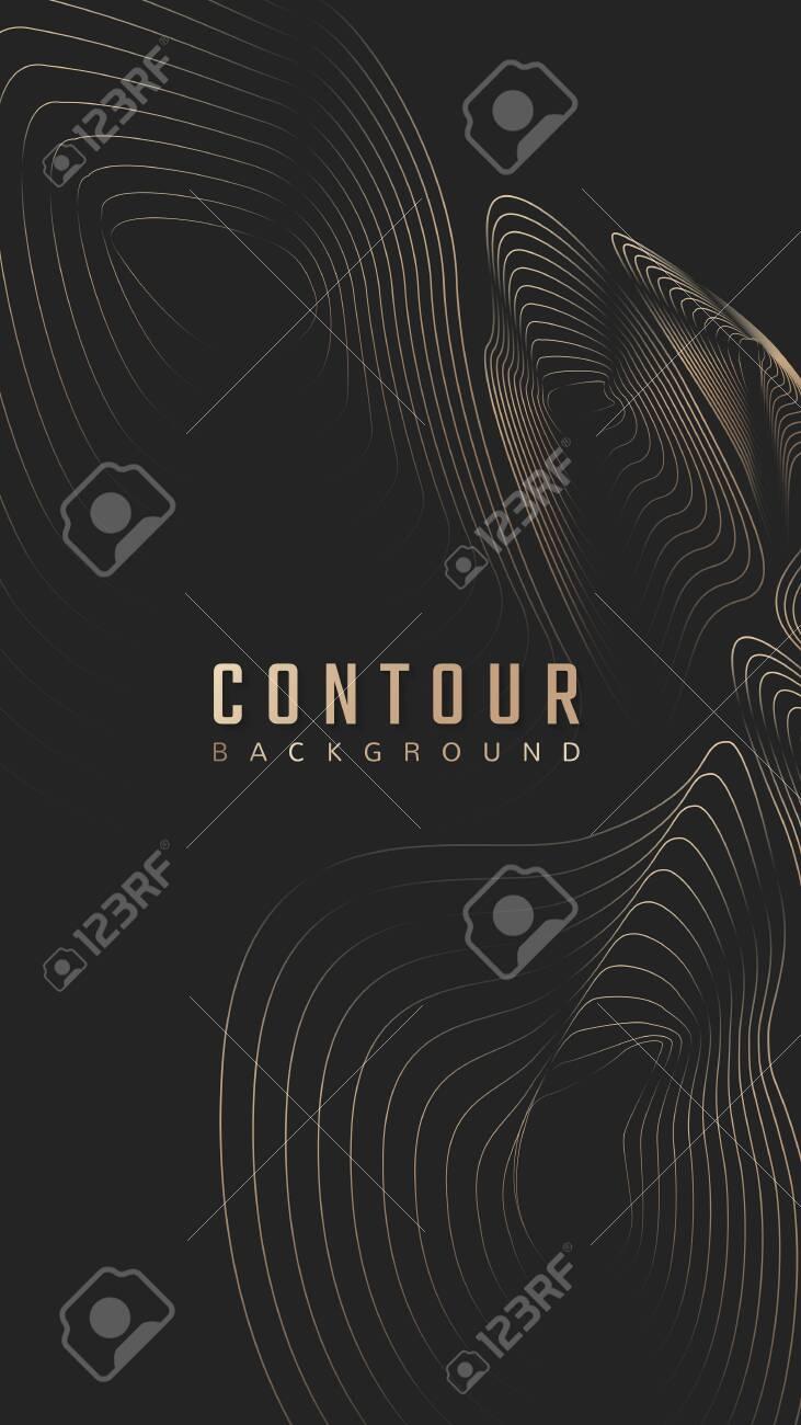 Topographic contour lines background vector - 123764168