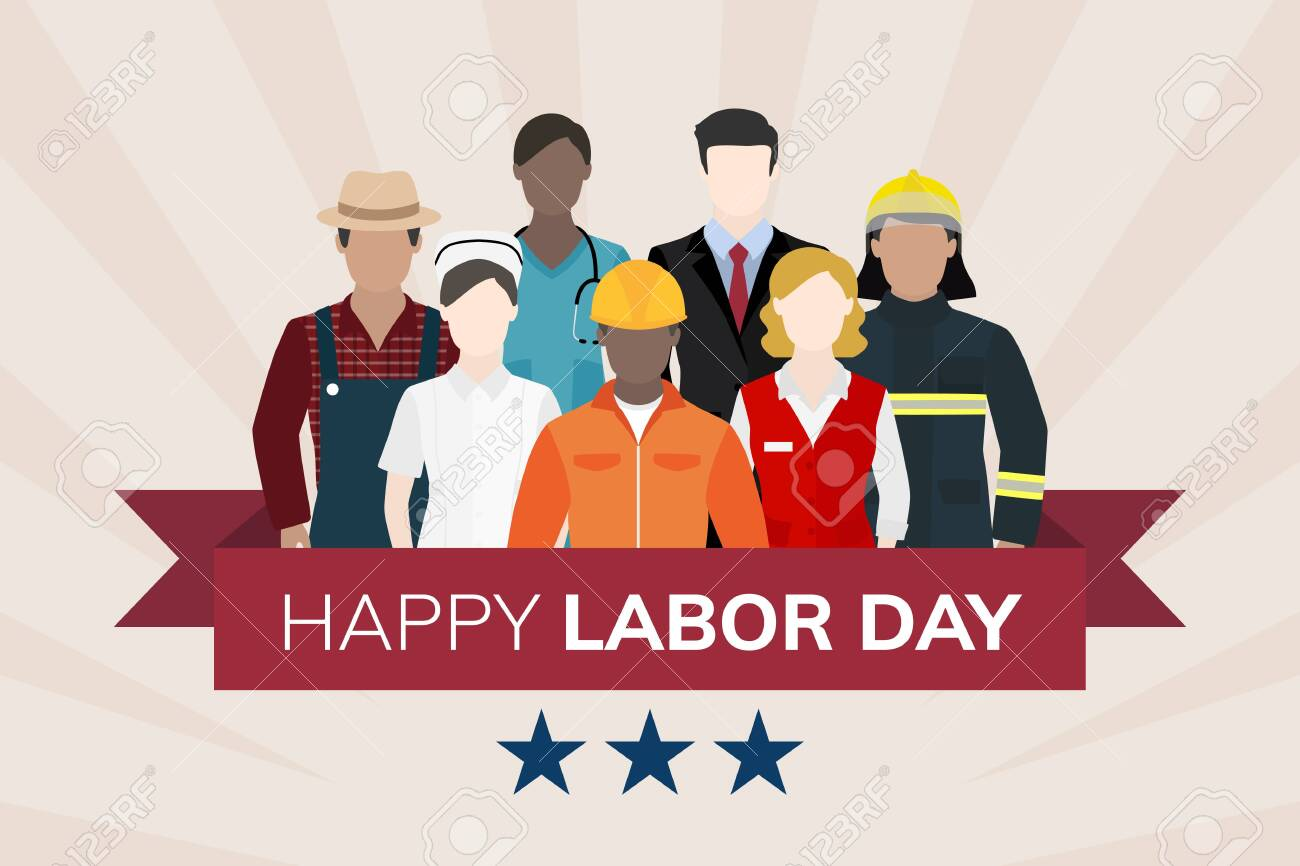 Diverse occupation celebrating labor day vector - 123764181