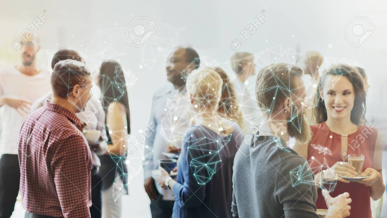 Diverse people at the office party - 124676365