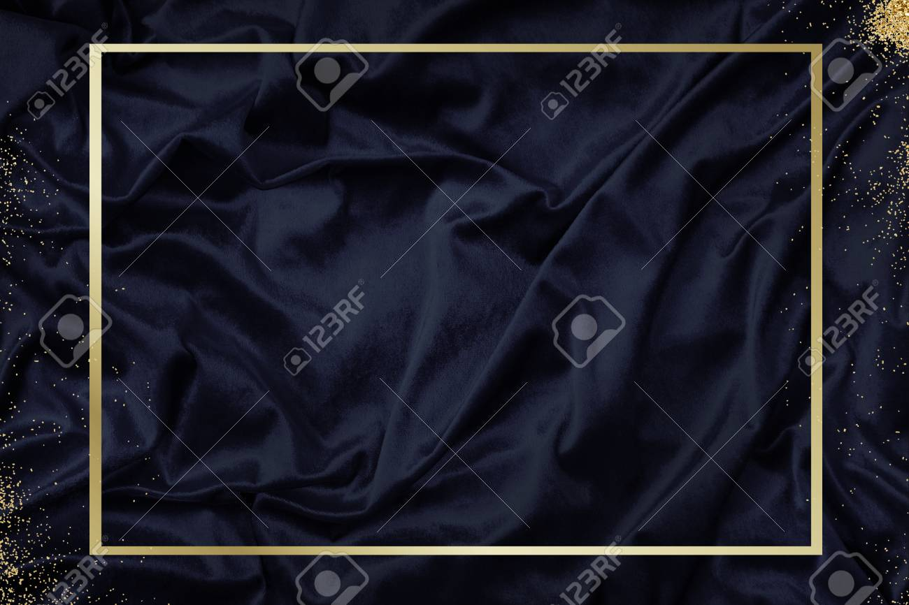 Gold frame on a silky navy blue fabric textured background illustration - 125485299