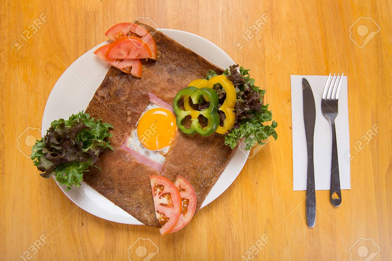 Ham And Egg Crepe Galette Complete Traditional French Buckwheat Stock Photo Picture And Royalty Free Image Image 43816275