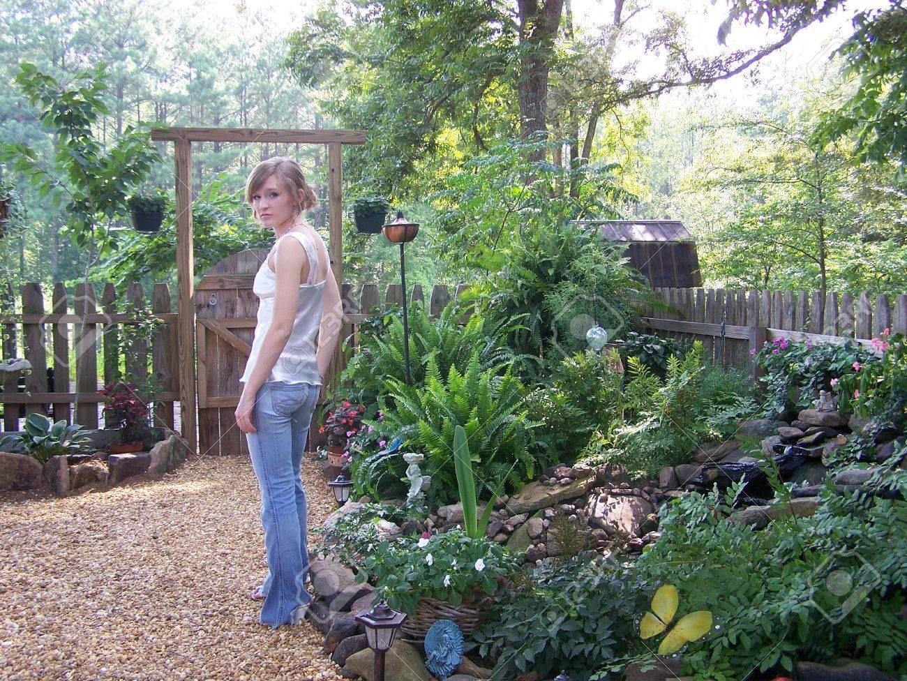 Girl in Garden Stock Photo - 5888316