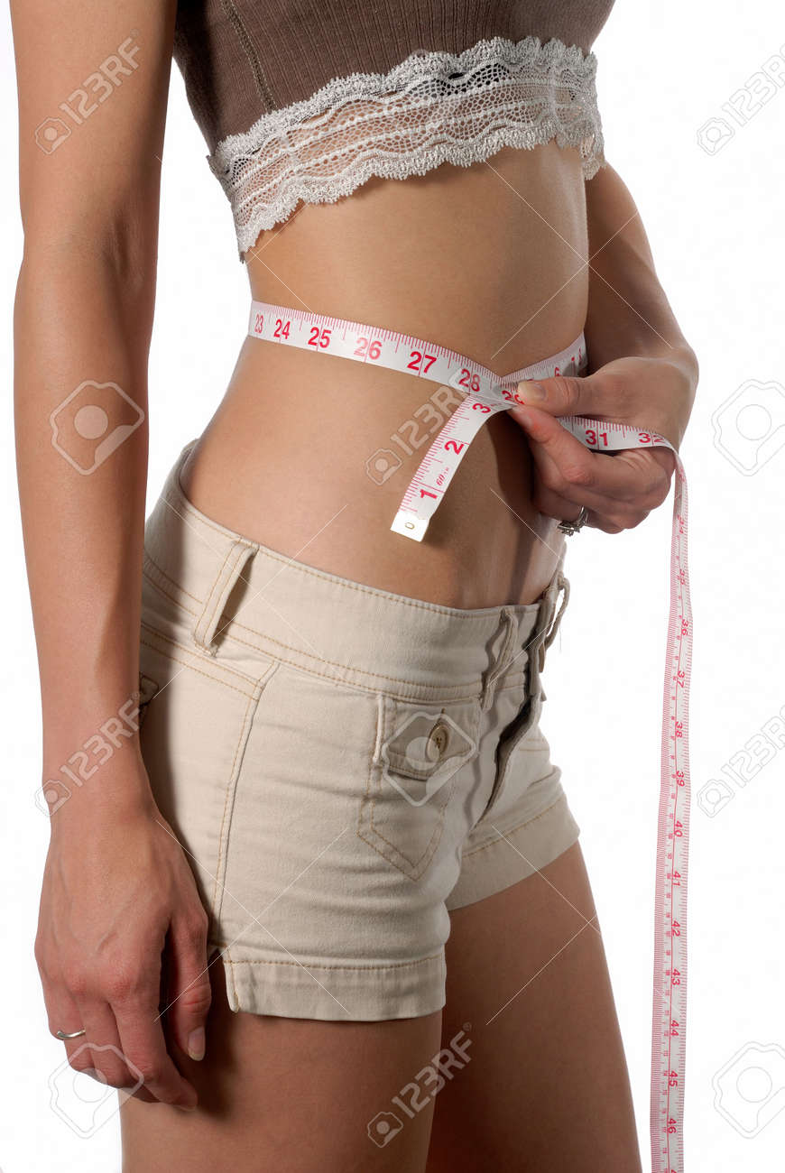 Female waist being measured english measurement Stock Photo - 3323622