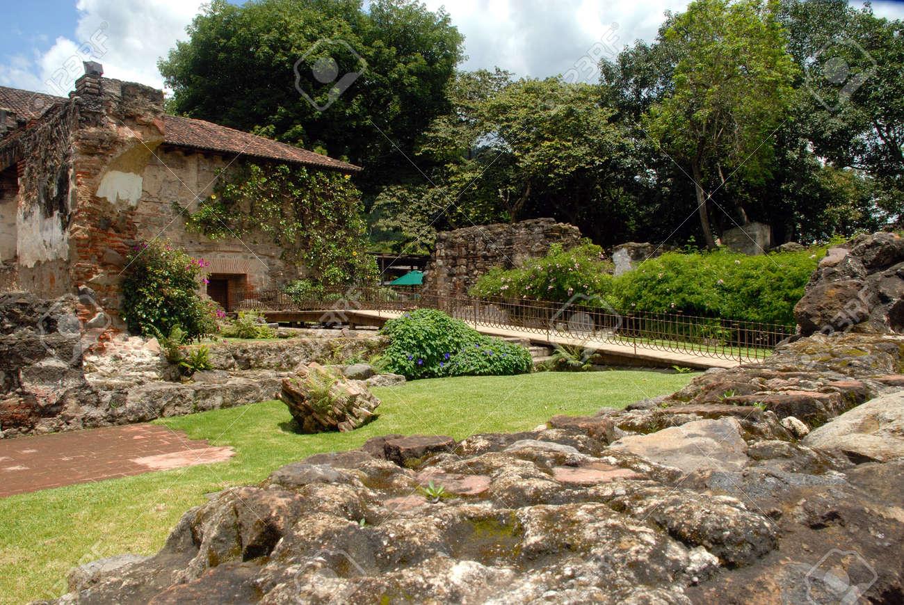 Garden Walkway Santo Domingo In Antigua Guatemala Stock Photo ...